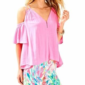 Lilly Pulitzer Hot Pink Blouse Top Ruffle Medium M